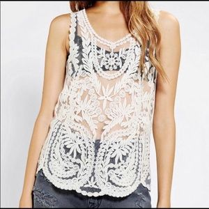 Pins And Needles Embroidered Sheer Tank Top